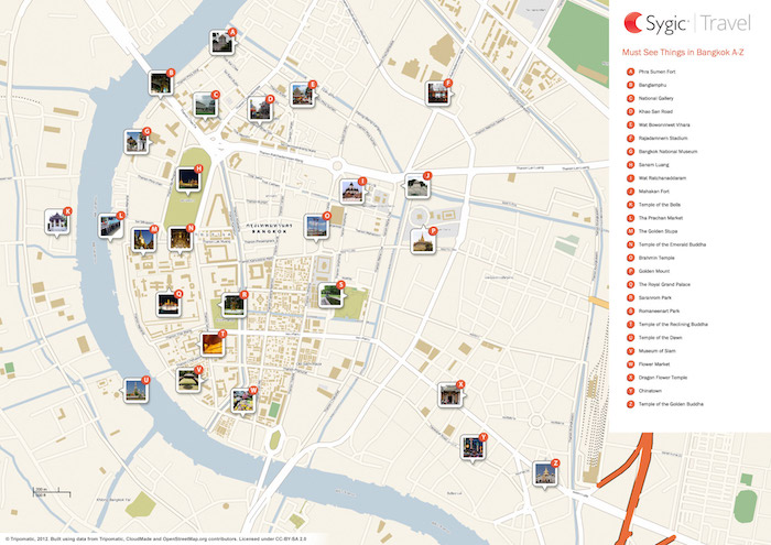 Printable tourist map of Bangkok