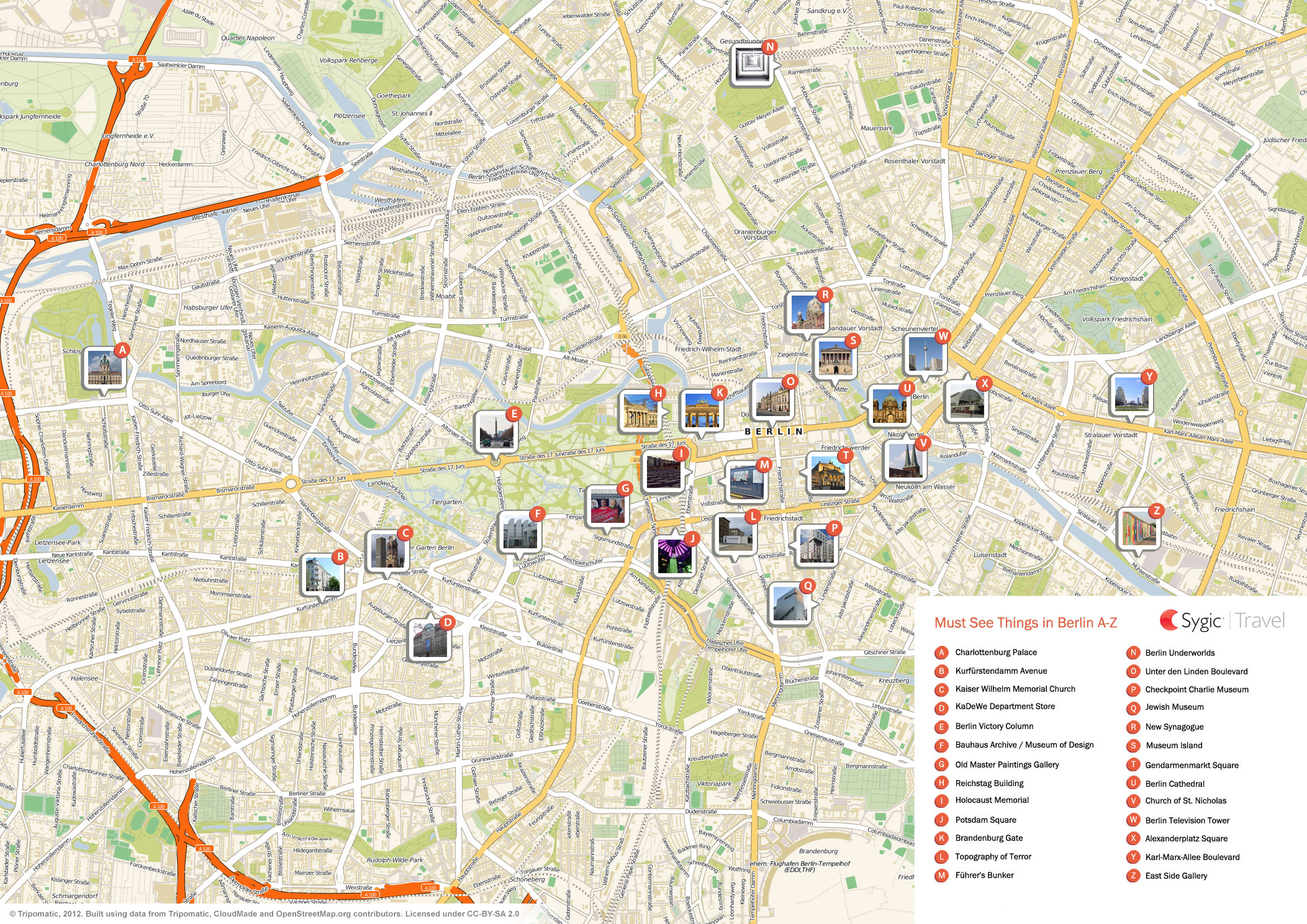 Berlin Printable Tourist Map Sygic Travel - Berlin map of tourist attractions