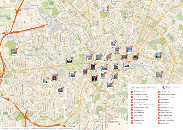 Download a printable Berlin tourist map showing top sights and attractions.