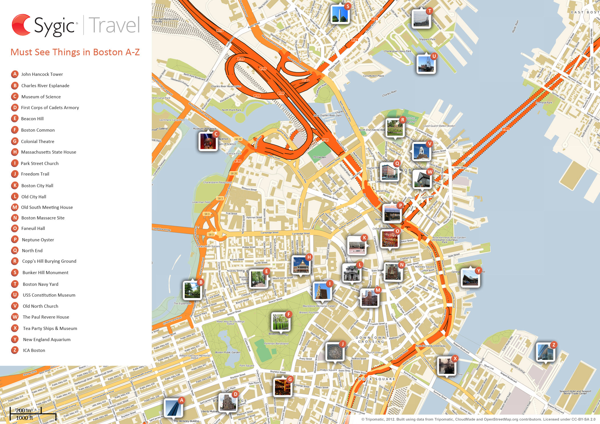 Boston Printable Tourist Map Sygic Travel - Chicago map attractions