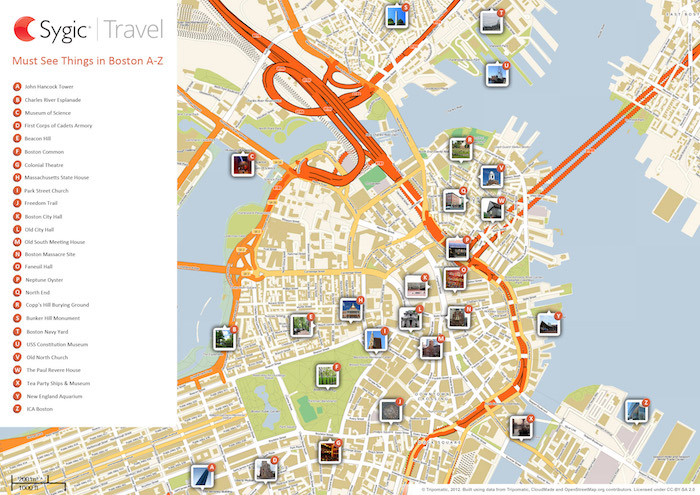 Printable tourist map of Boston