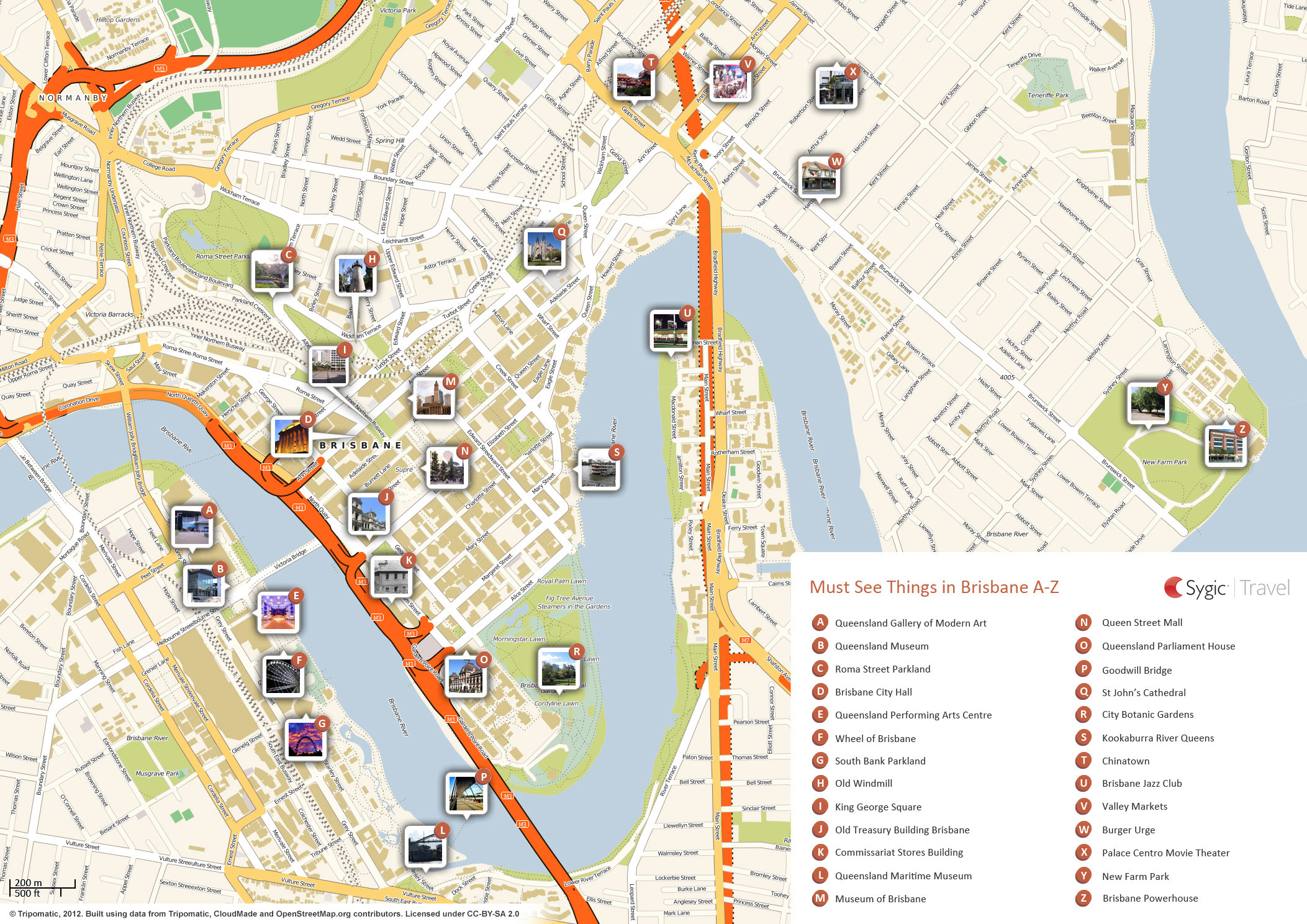 Map of Brisbane Attractions | Tripomatic