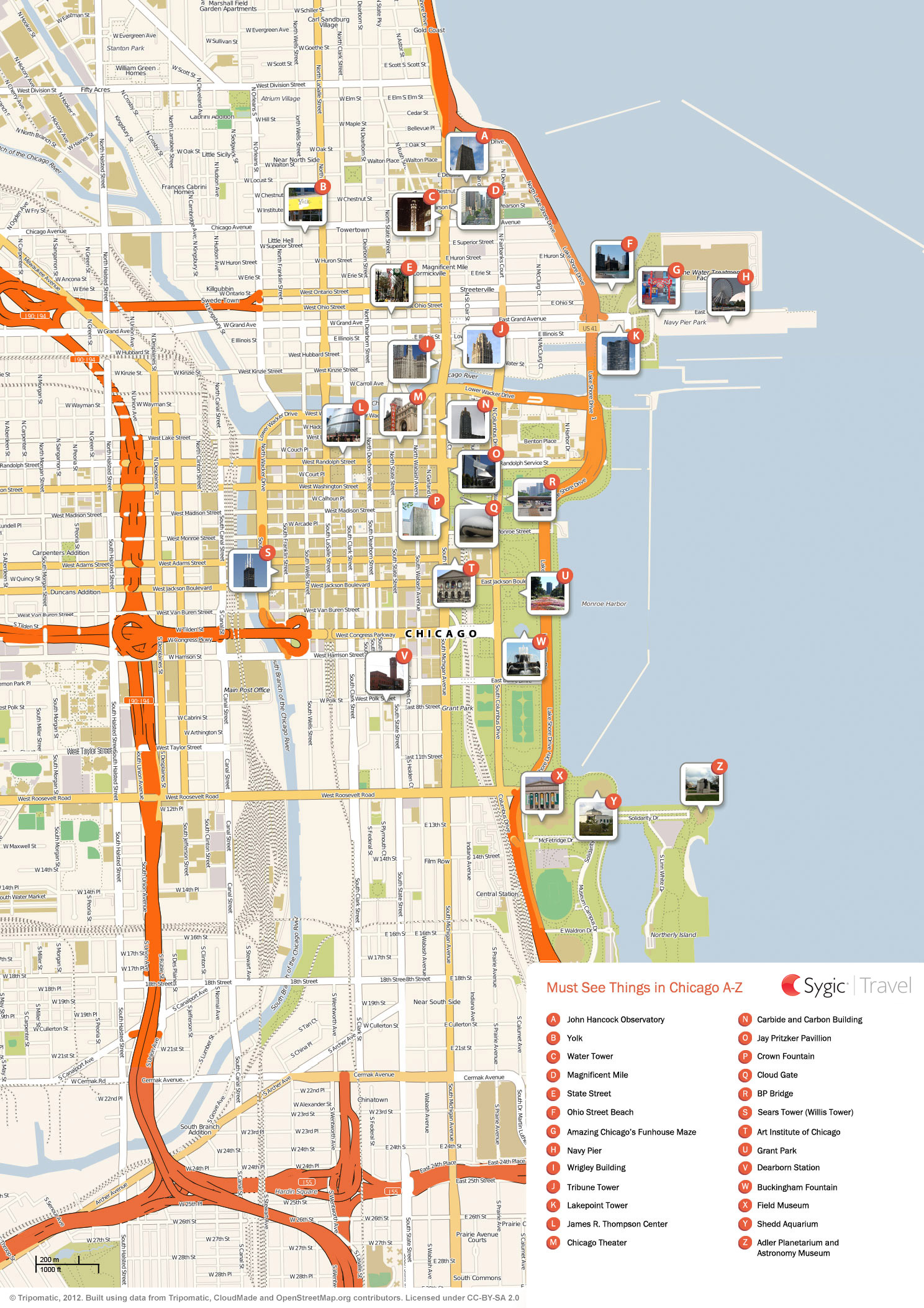Chicago Printable Tourist Map – Top Tourist Attractions Map In Chicago