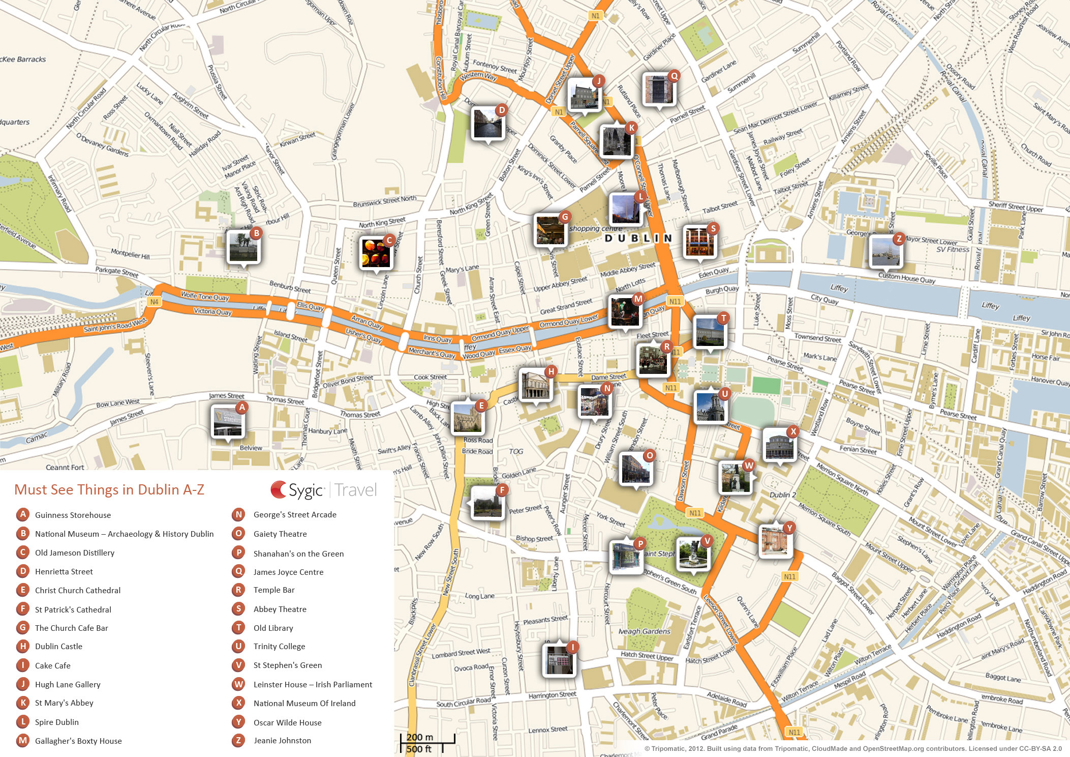Monster image within printable map of dublin