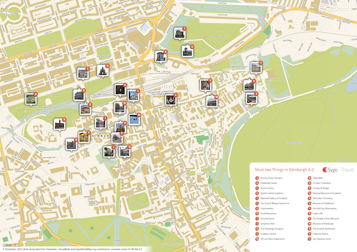 Printable tourist map of Edinburgh