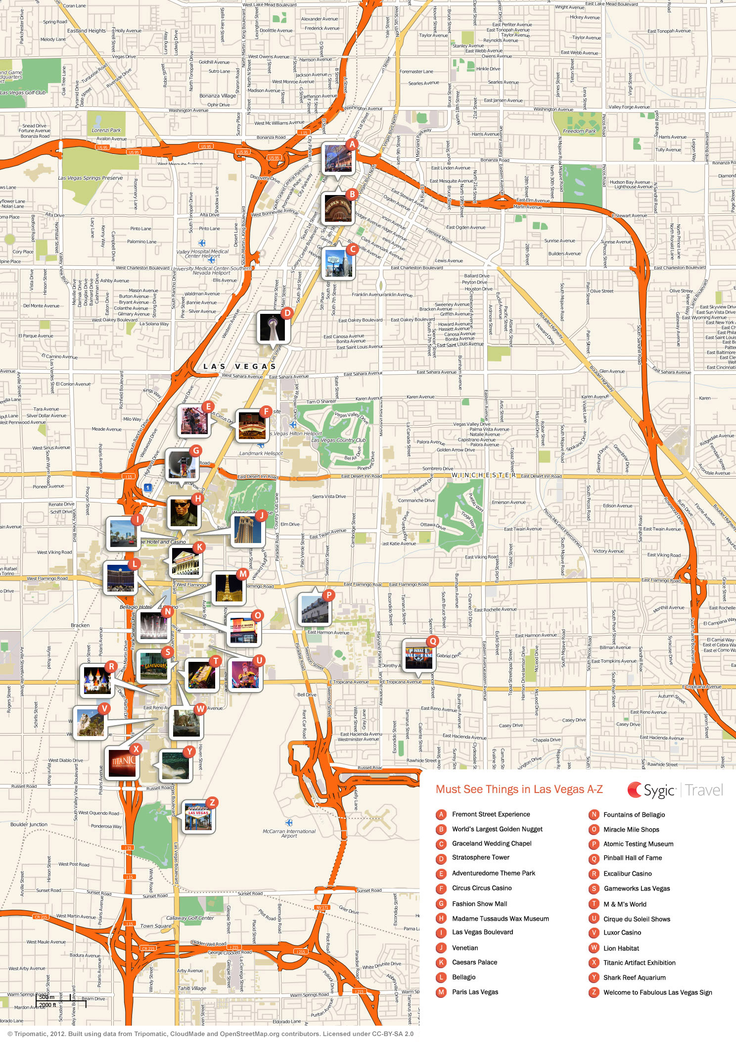 Las Vegas Printable Tourist Map Sygic Travel