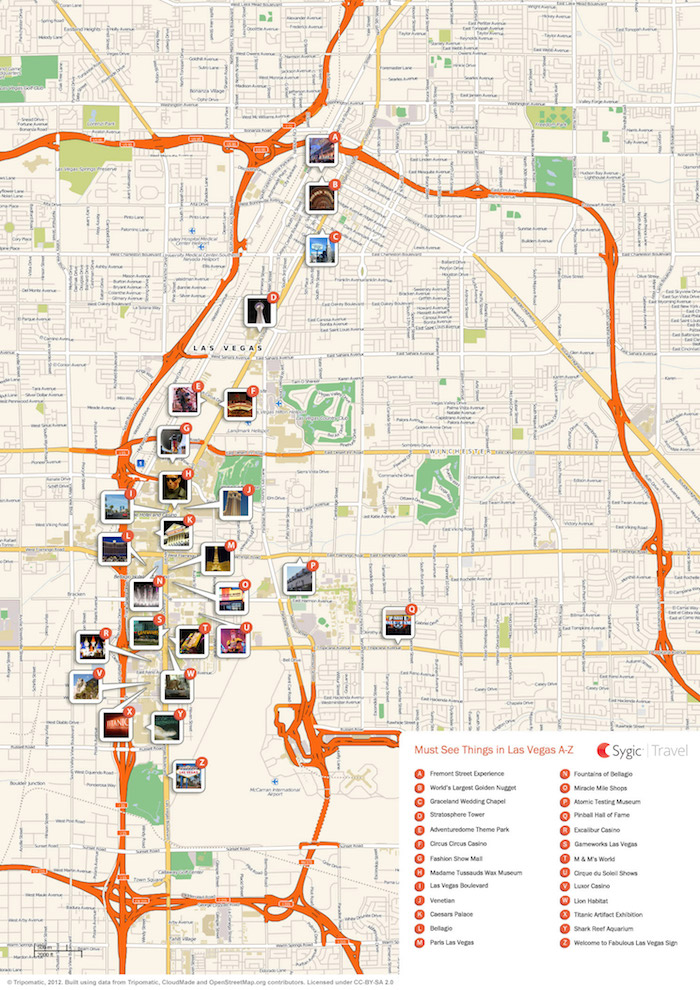 Download a printable Las Vegas tourist map showing top sights and attractions.
