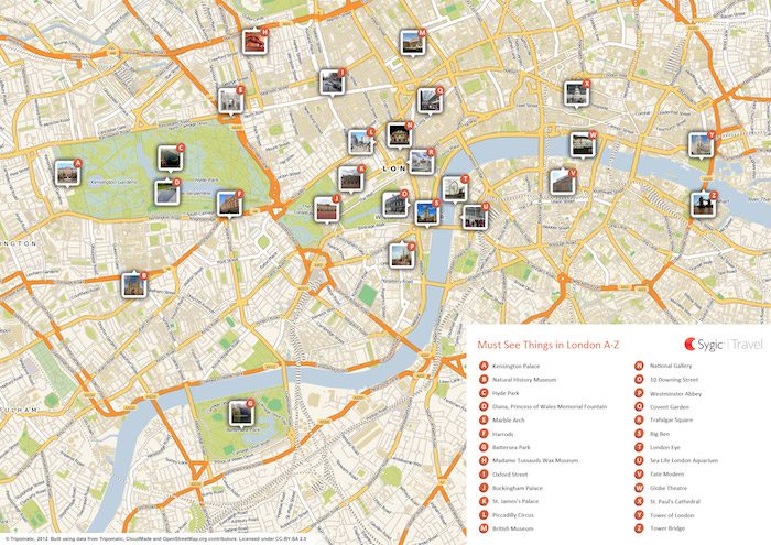Printable tourist map of London