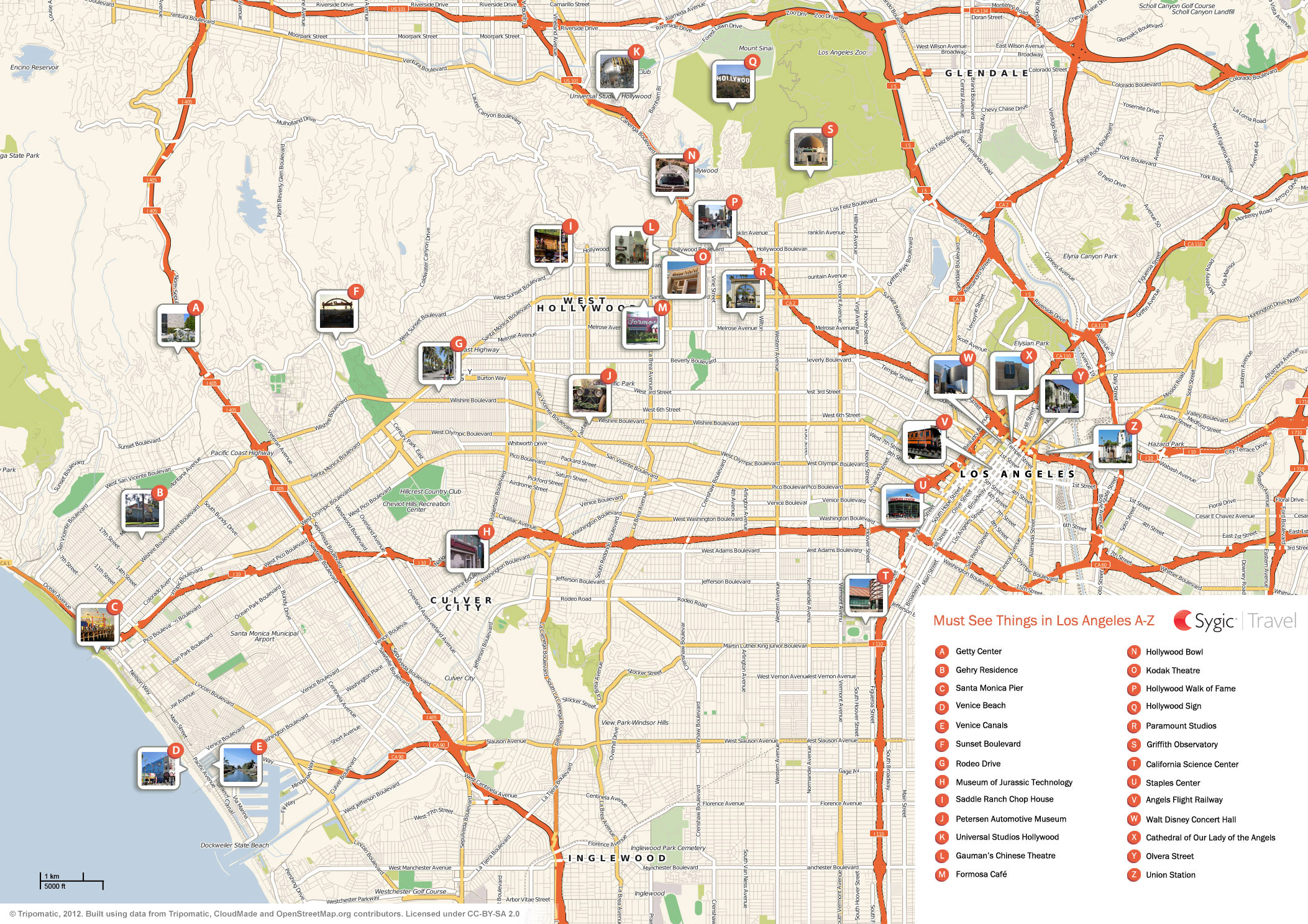 Los Angeles Printable Tourist Map  Sygic Travel