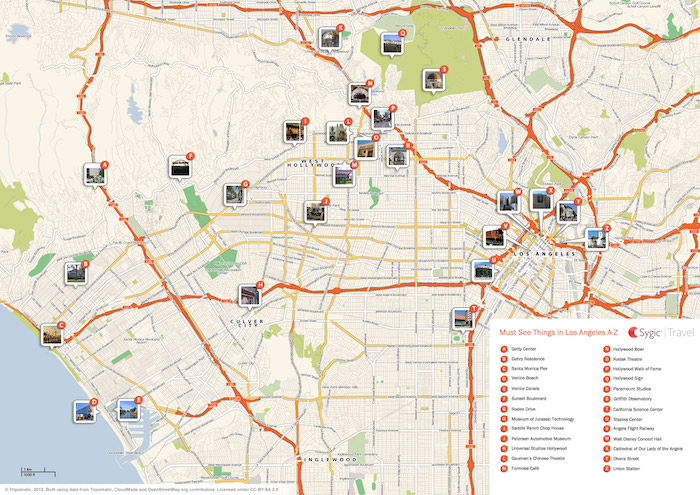 Printable tourist map of Los Angeles