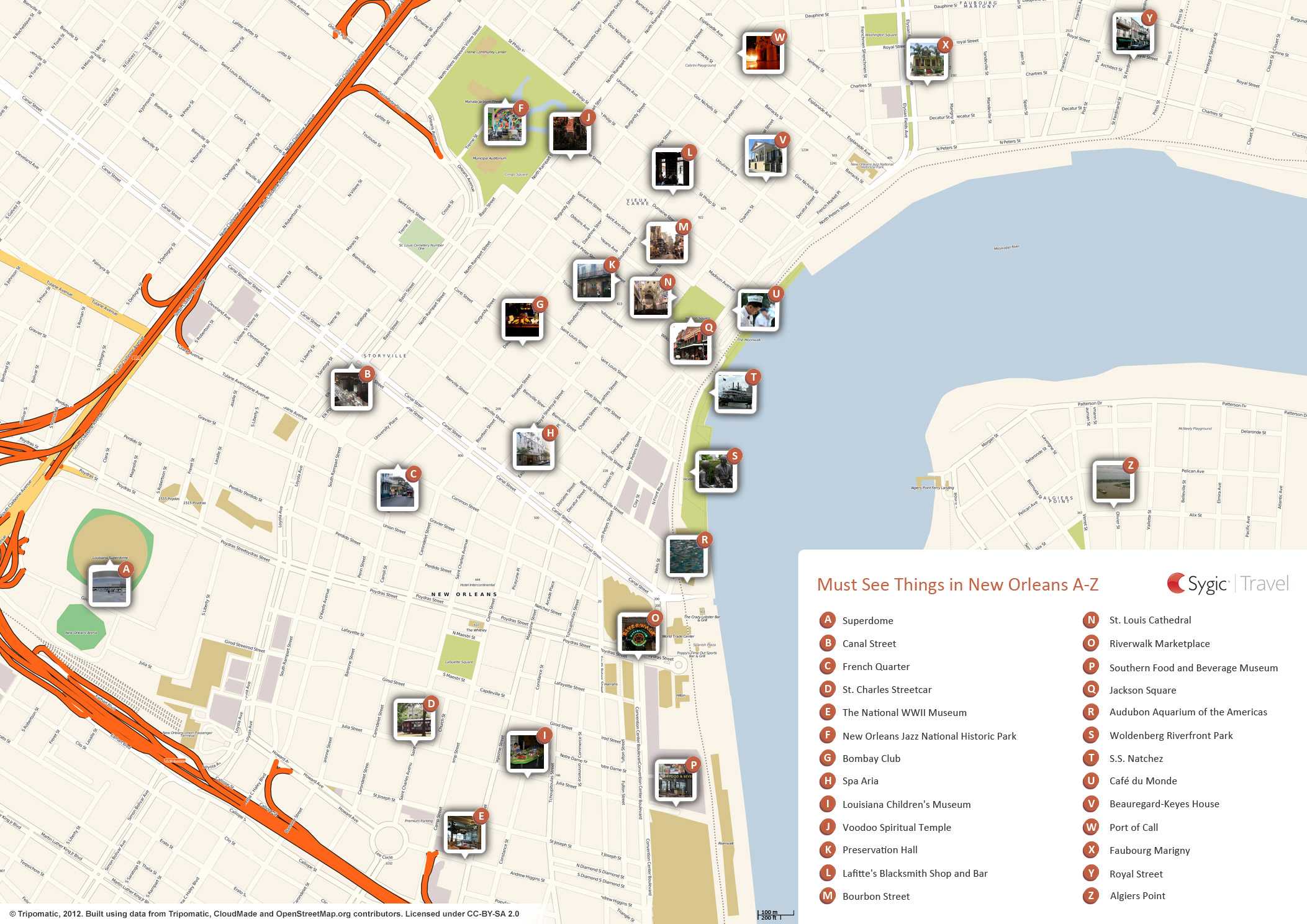 Map of new orleans attractions tripomatic for What to do in new orleans louisiana