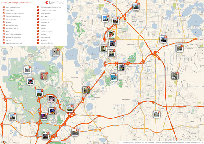 Printable tourist map of Orlando