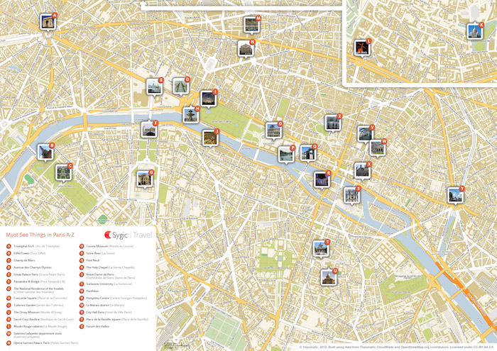 Printable tourist map of Paris