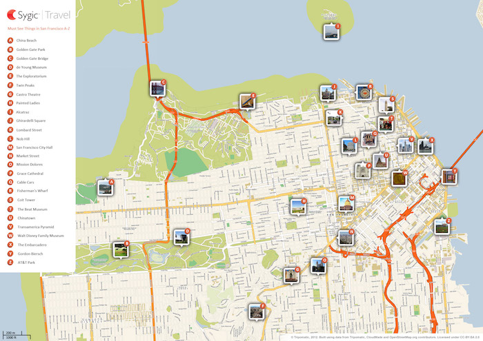 Download a printable San Francisco tourist map showing top sights and attractions.