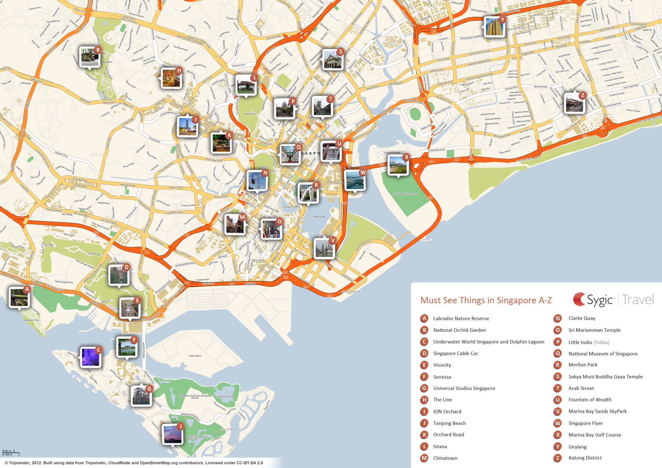 Complete Tourist Attractions Map of Singapore – East Coast Tourist Attractions Map