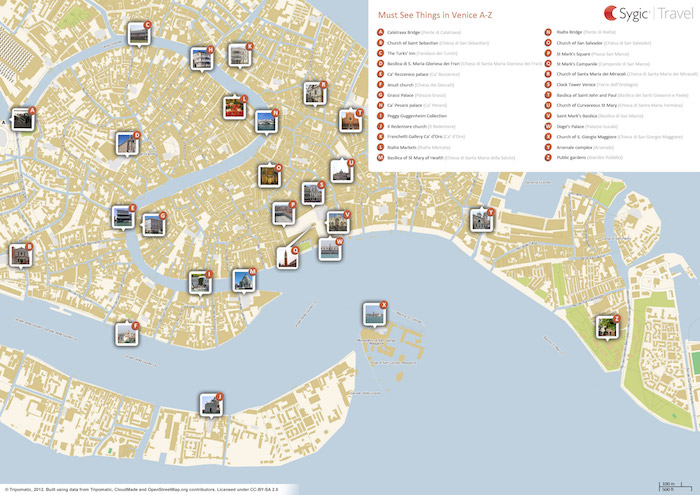 Download a printable Venice tourist map showing top sights and attractions.