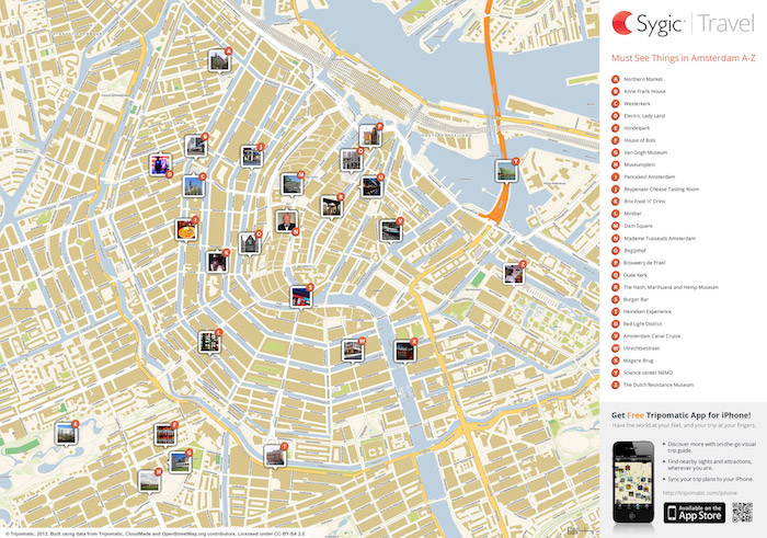 Download a printable Amsterdam tourist map showing top sights and attractions.