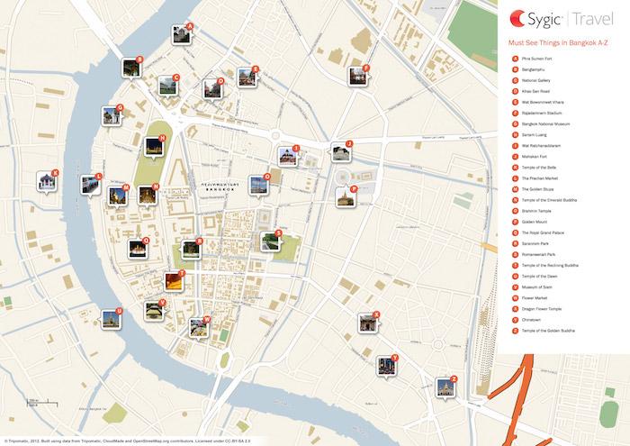 Printable tourist map of Bangkok