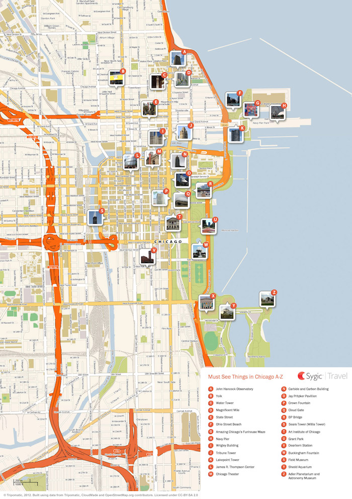 Download a printable Chicago tourist map showing top sights and attractions.