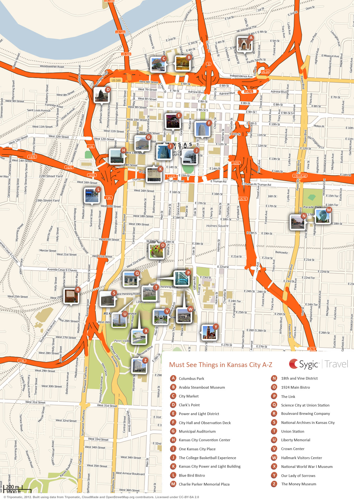 Map of kansas city attractions sygic travel for Directions to garden city kansas