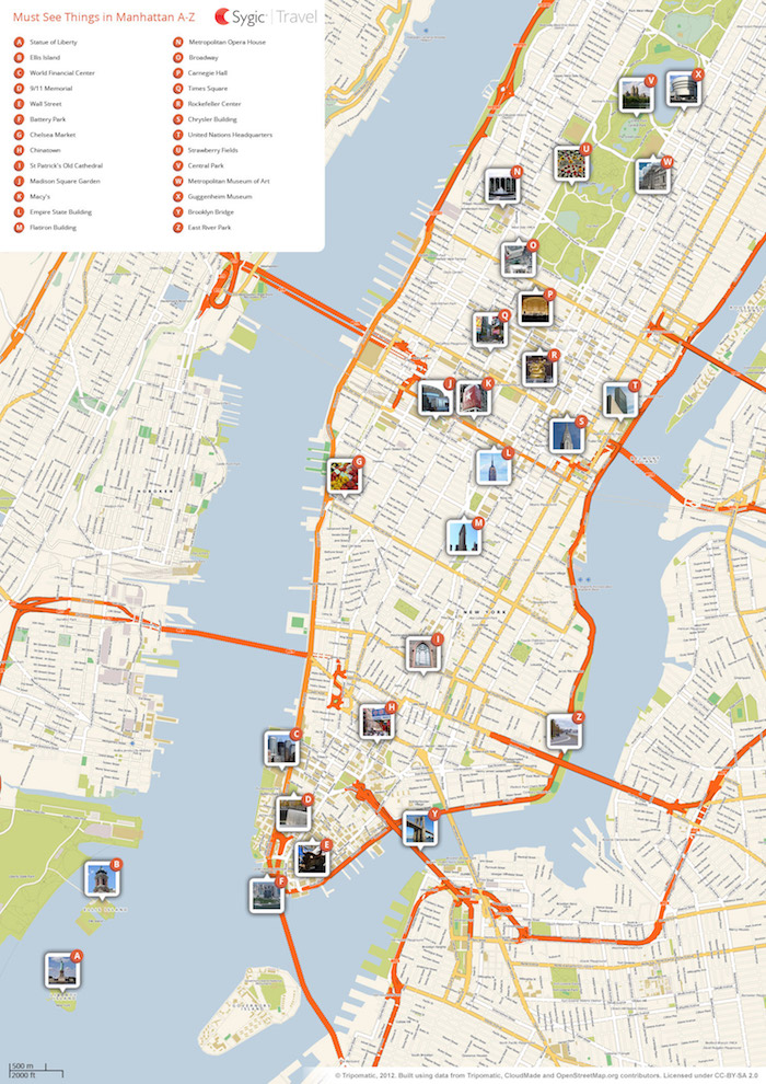 Download a printable tourist map of New York's Manhattan top sights and attractions.