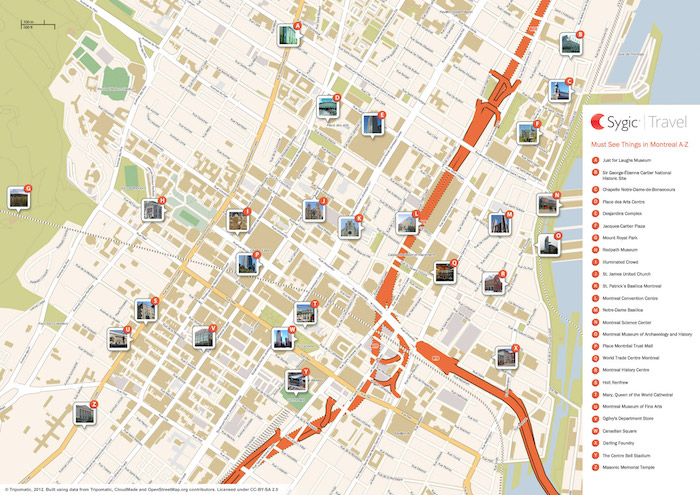 Printable tourist map of Montreal