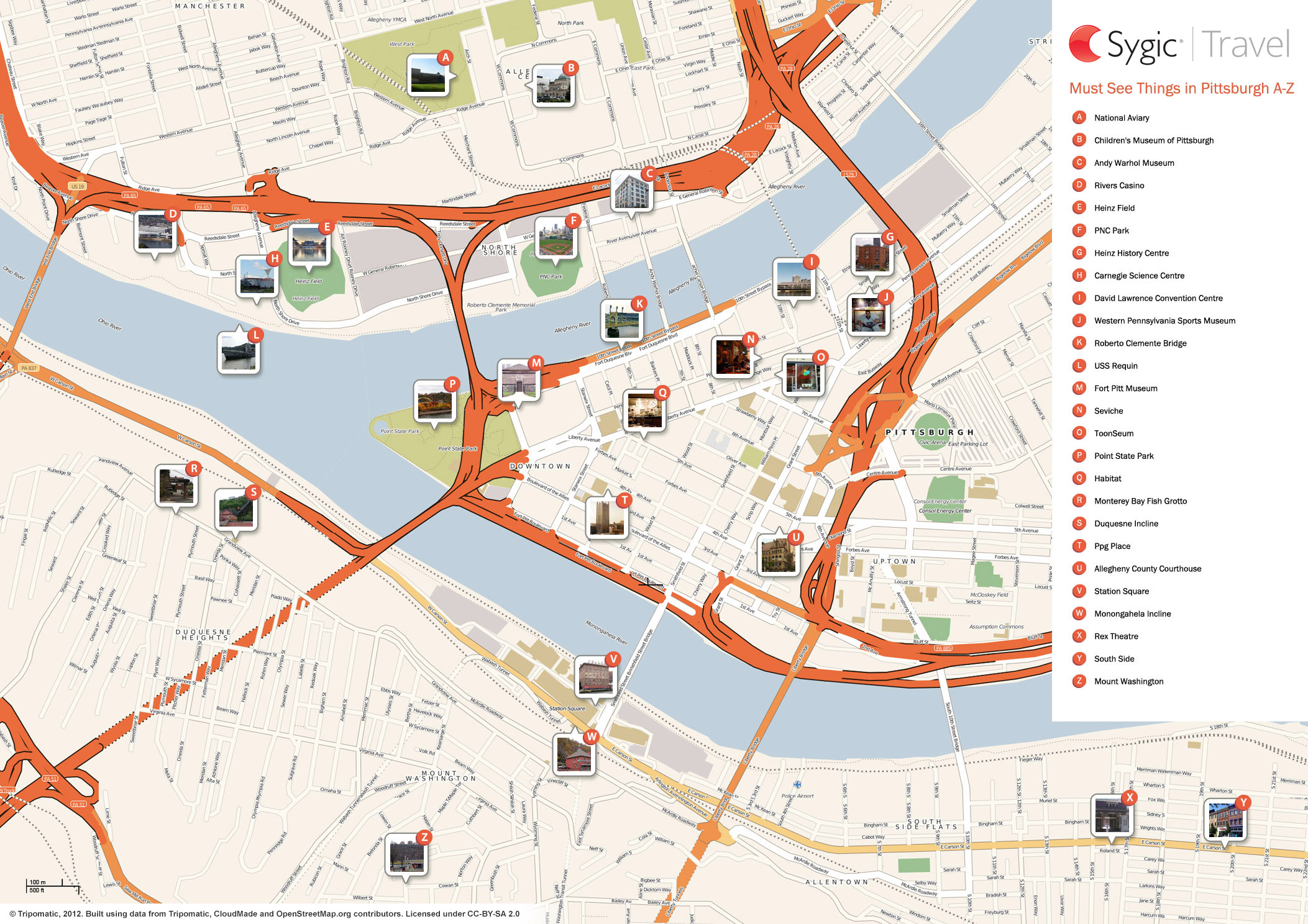 Map Of Pittsburgh Attractions  Sygic Travel