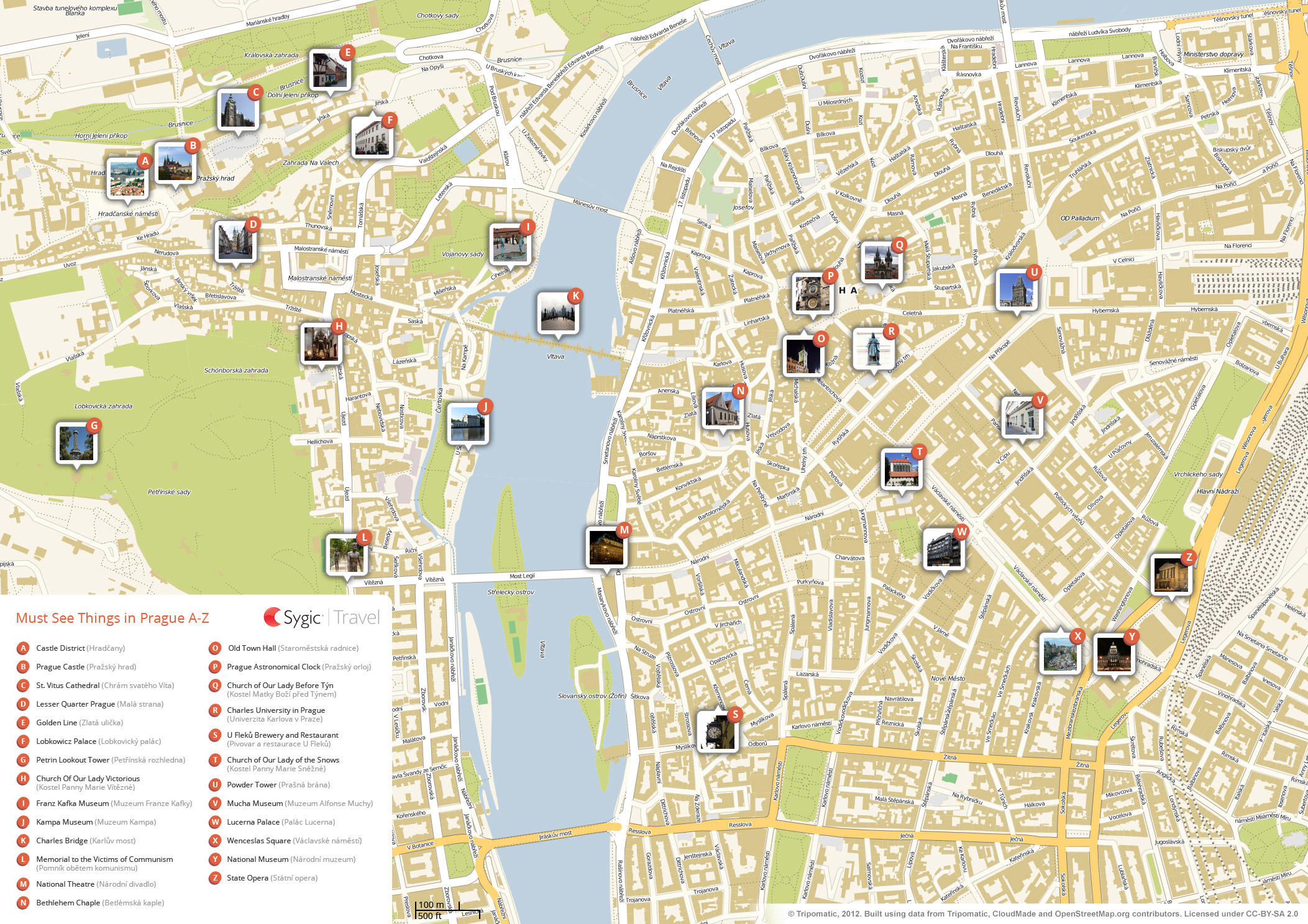 Map of prague attractions sygic travel for Prague location