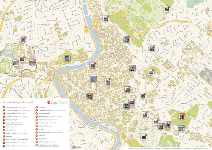 Rome Printable Tourist Map