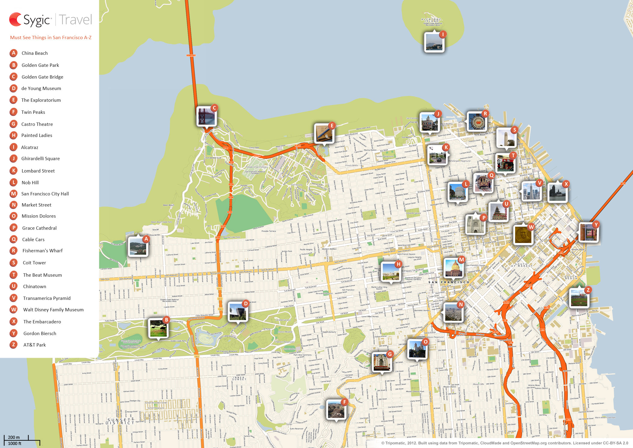San Francisco Attractions Map San Francisco Printable Tourist Map | Sygic Travel