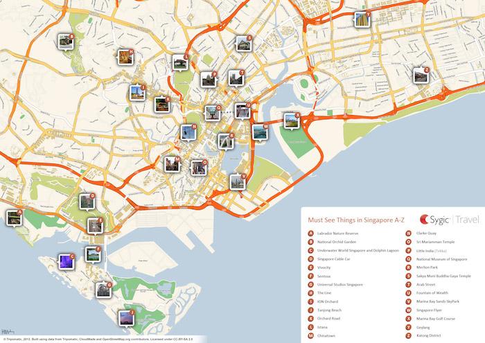 Printable tourist map of Singapore