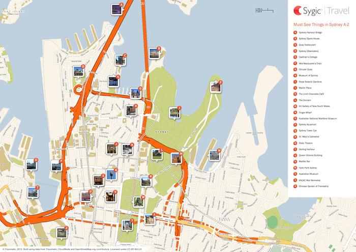 Printable tourist map of Sydney